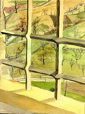 Watercolour of the view from a castle window at Tittmoning